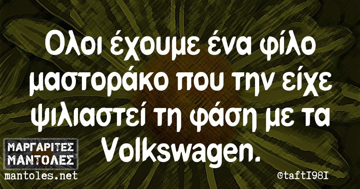 Όλοι έχουμε ένα φίλο μαστοράκο που την είχε ψιλιαστεί τη φάση με τα Volkswagen.