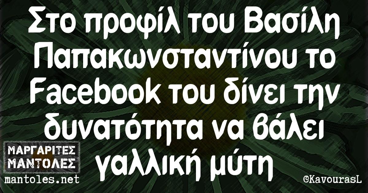 Στο προφίλ του Βασίλη Παπακωνσταντίνου το Facebook του δίνει την δυνατότητα να βάλει γαλλική μύτη