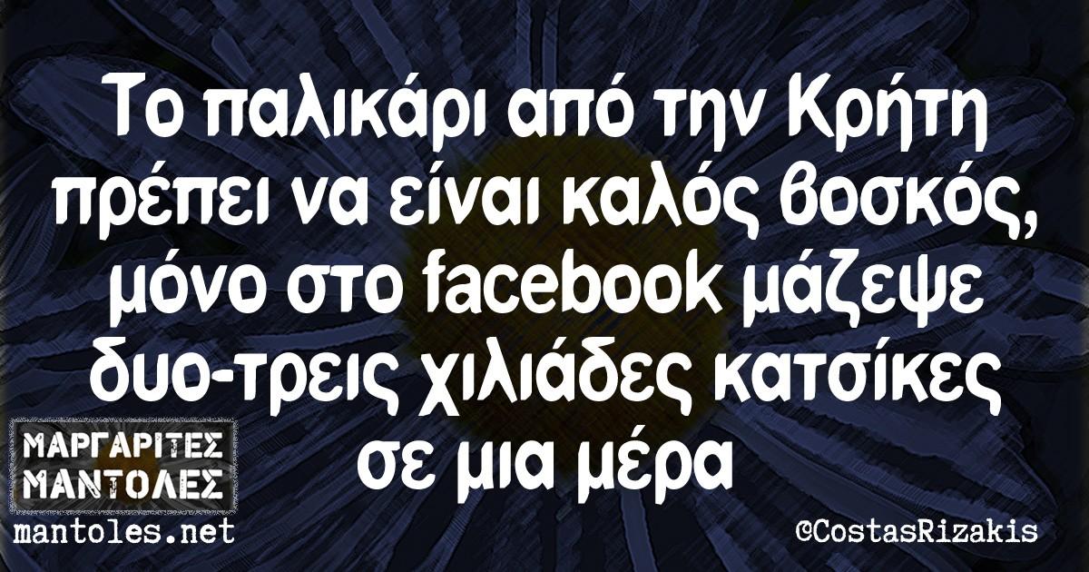 Το παλικάρι από την Κρήτη πρέπει να είναι καλός βοσκός, μόνο στο facebook μάζεψε δυο-τρεις χιλιάδες κατσίκες σε μια μέρα.