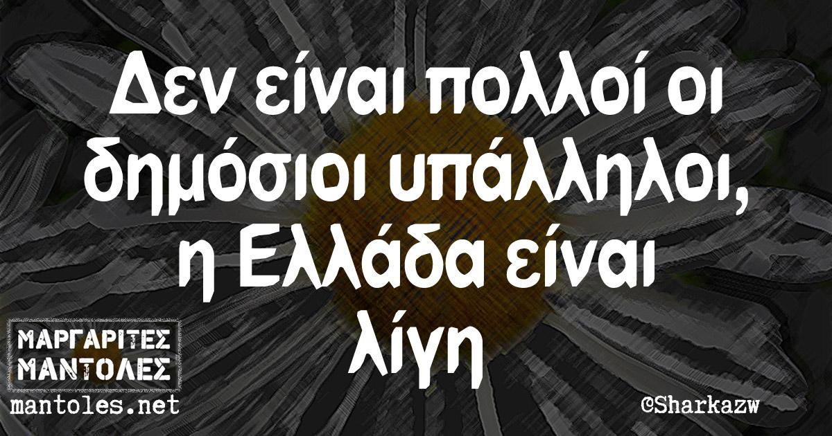 Δεν είναι πολλοί οι δημόσιοι υπάλληλοι, η Ελλάδα είναι λίγη