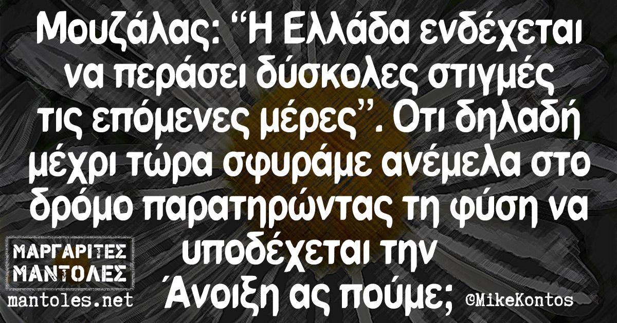 """Μουζάλας: """"Η Ελλάδα ενδέχεται να περάσει δύσκολες στιγμές τις επόμενες μέρες"""". Οτι δηλαδή μέχρι τώρα σφυράμε ανέμελα στο δρόμο παρατηρώντας τη φύση να υποδέχεται την Άνοιξη ας πούμε;"""