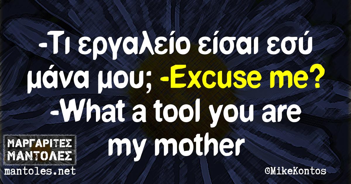 -Τι εργαλείο είσαι εσύ μάνα μου; -Excuse me? -What a tool you are my mother?