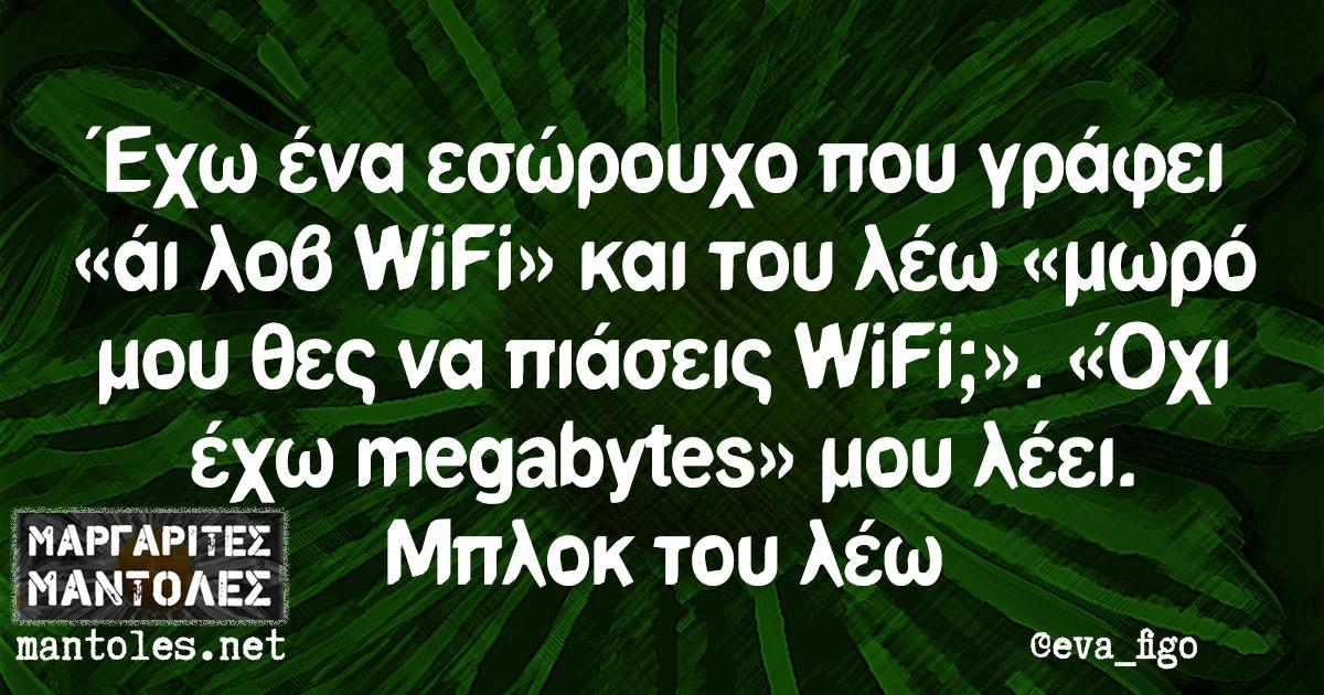 Έχω ένα εσώρουχο που γράφει «άι λοβ WiFi» και του λέω «μωρό μου θες να πιάσεις WiFi;». «Όχι έχω megabytes» μου λέει. Μπλοκ του λέω