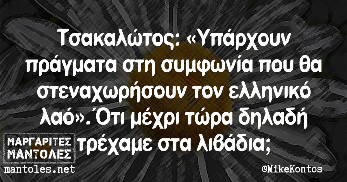 Τσακαλώτος: «Υπάρχουν πράγματα στη συμφωνία που θα στεναχωρήσουν τον ελληνικό λαό». Ότι μέχρι τώρα δηλαδή τρέχαμε στα λιβάδια;