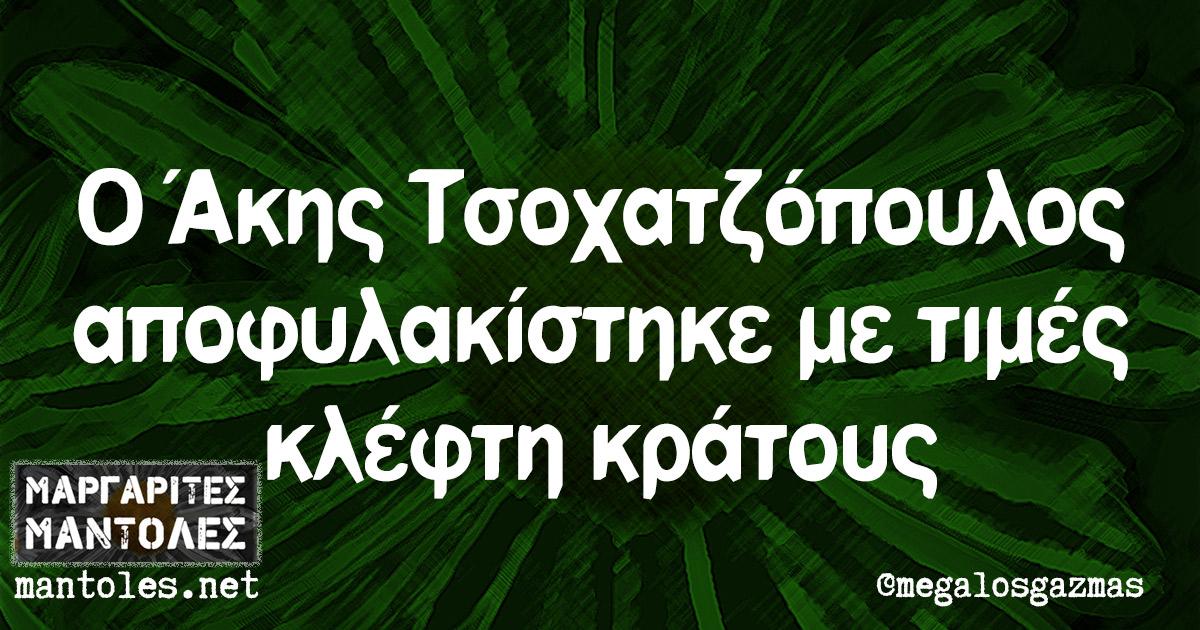 Ο Άκης Τσοχατζόπουλος αποφυλακίστηκε με τιμές κλέφτη κράτους