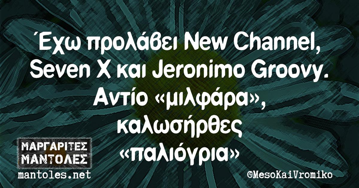 Έχω προλάβει New Channel, Seven X και Jeronimo Groovy. Αντίο «μιλφάρα», καλωσήρθες «παλιόγρια»