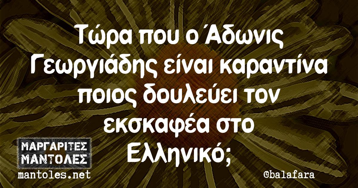 Τώρα που ο Άδωνις Γεωργιάδης είναι καραντίνα ποιος δουλεύει τον εκσκαφέα στο Ελληνικό;