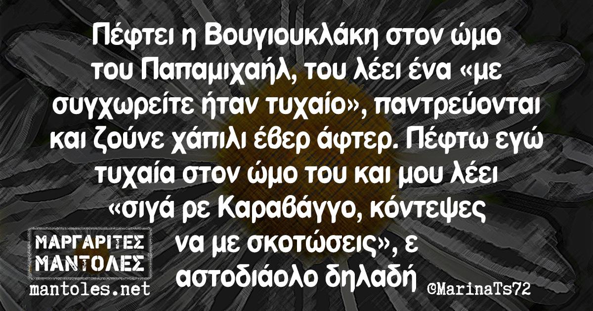 Πέφτει η Βουγιουκλάκη στον ώμο του Παπαμιχαήλ, του λέει ένα «με συγχωρείτε ήταν τυχαίο», παντρεύονται και ζούνε χάπιλι έβερ άφτερ. Πέφτω εγώ τυχαία στον ώμο του και μου λέει «σιγά ρε Καραβάγγο, κόντεψες να με σκοτώσεις», ε αστοδιάολο δηλαδή